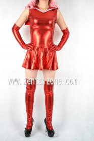 Sexy Red Halter Shiny Metallic Dress With Gloves & Stockings