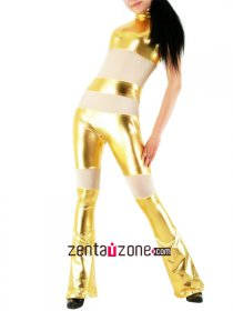 Golden White Shiny Metallic Catsuit