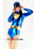Blue Gold Shiny Metallic Leotard Catsuit