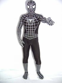 Black White Stripe Spandex Lycra Spiderman Costume