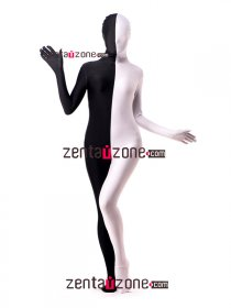 Black And White Double-skin Lycra Spandex Zentai