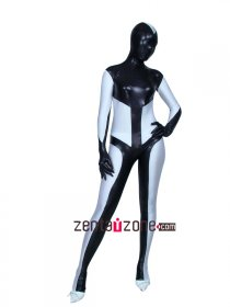 Black And White Metallic Shiny Zentai Suit