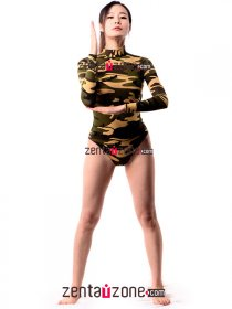 Sexy Camouflage Lycra High Neck Leotard