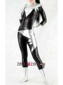 Black Silver Shiny Metallic Catsuit