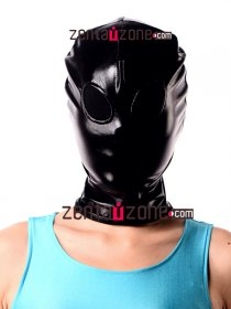 Black Shiny Metallic Zentai Hood With Black Meshed Eyes