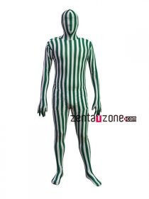 Green And White Lycra Camouflage Full Bodysuit