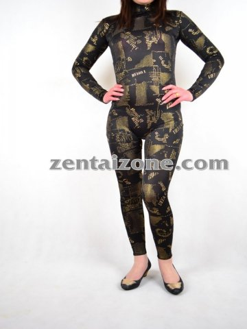 Fashion Zentai Diagram Print Catsuit