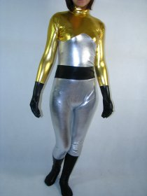 Silver Golden Shiny Metallic Super Hero Catsuit