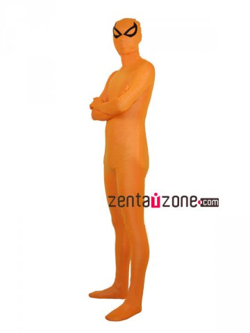 Orange Shiny Full Body Suit Zentai With Black Eyes