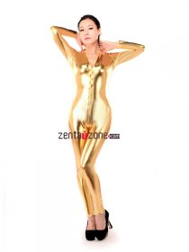 Golden Shiny Metallic Catsuit Zentai With Front Zipper