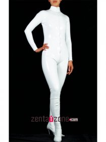 White High Neck PVC Catsuit