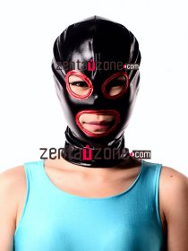 Black And Red Shiny Metallic Zentai Hood With Eyes And Mouth Ope
