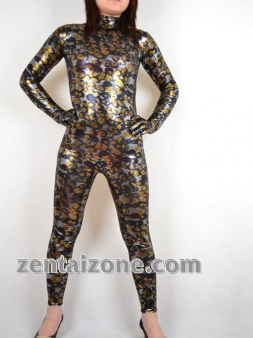 2011 New Style Fish Scale Print Shiny Catsuit Zentai