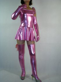 Sexy Pink Shiny Metallic Dress
