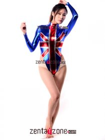 England Flag Pattern Shiny Metallic Leotard