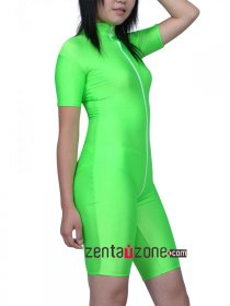 Green Spandex Lycra Cycle Outfit With Front Zipper