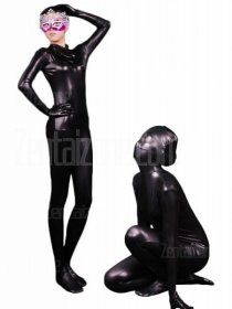 Black Shiny Full Body Zentai Suit