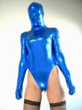 Blue Shiny Metallic Leotard Catsuit
