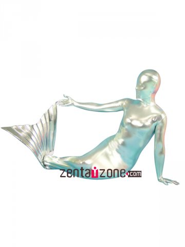 Silver Mermaid Shiny Metallic Zentai Suit