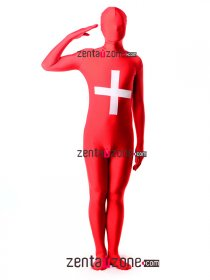 Spandex Lycra Switzerland Flag Zentai Suit
