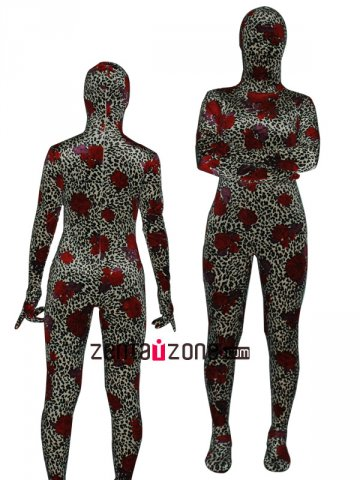 Red Rose Thicken Velvet Zentai Bodysuit
