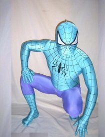 Blue Purple Spandex Lycra Spiderman Costume