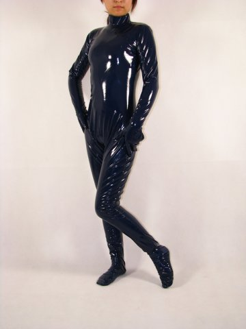 Dark Blue Shiny PVC Catsuit