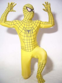 Yellow Spandex Lycra Spiderman Costume