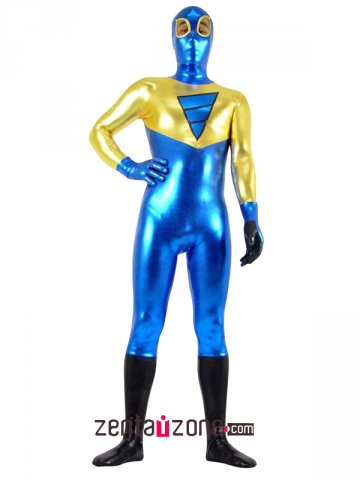 Blue And Golden Unisex Shiny Metallic Zentai Suit