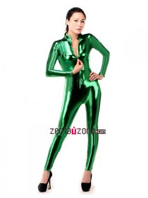 Green Shiny Metallic Front Zipper Catsuit
