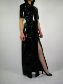 Black Shiny Metallic Long Dress