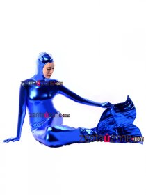 Blue Shiny Metallic Mermaid Zentai Body Suit With Open Face