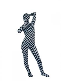 White And Black Lycra Spandex Full Bodysuit Zentai