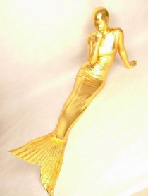 Gold Mermaid Shiny Metallic Zentai Suit