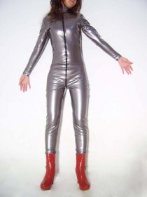 Silver Shiny Metallic Catsuit With Front Zipper