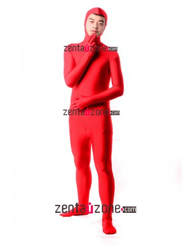 Red Lycra Full Bodysuit With Open Face