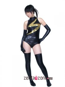 Black And Golden Shiny Metallic Zentai Suit