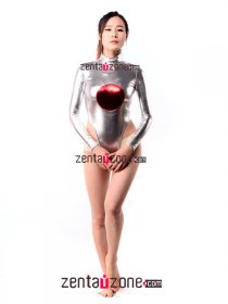 Japan Flag Silver Metallic Leotard