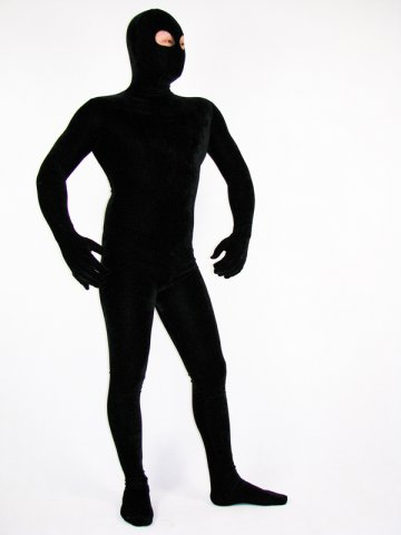 Black Velvet Unisex Open Eyes Zentai Suit