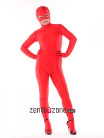 Sexy Red Unicolor Catsuit