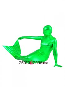 Green Mermaid Metallic Zentai Suit