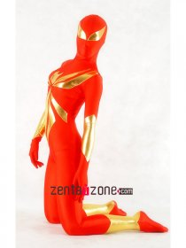 Red And Golden Spiderman Shiny Metallic Zentai Suit