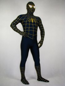 Yellow Stripe Blue Spandex Lycra Spiderman Costume