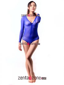 Low Cut Blue Silk Lace Leotard