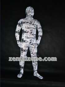 2011 White News Paper City Mummy Zentai Costume