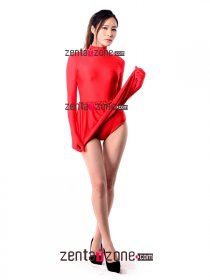 Red Spandex Zentai Leotard With Mini Dress