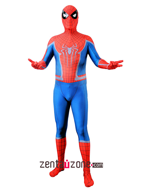 Custom Printed Civil War Amazing Spiderman Lycra Costume - Click Image to Close