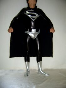 Unisex Superman Costume Shiny Metallic Zentai With Cape