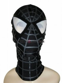 Black Spandex Lycra Spiderman Mask