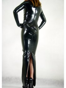 Sexy Black Shiny Zentai Dress
